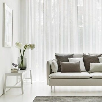 White Voile Curtains In The Lounge