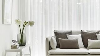 White Voile Curtains in the Lounge - Crystal Ecru