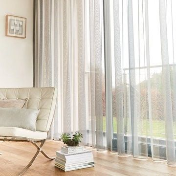 Grey Voile Curtains in the lounge - Ombre Smoke