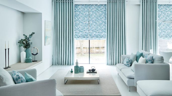 Zen-collection-Origami-Mist-curtains-with-Honesty-Mist-Roman-blind