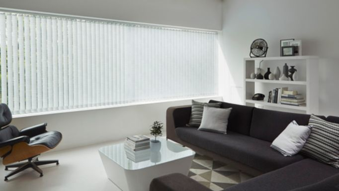 Alba Jet Vertical blind in living room