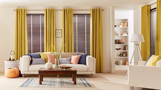 Mustard Eyelet Curtains in living room