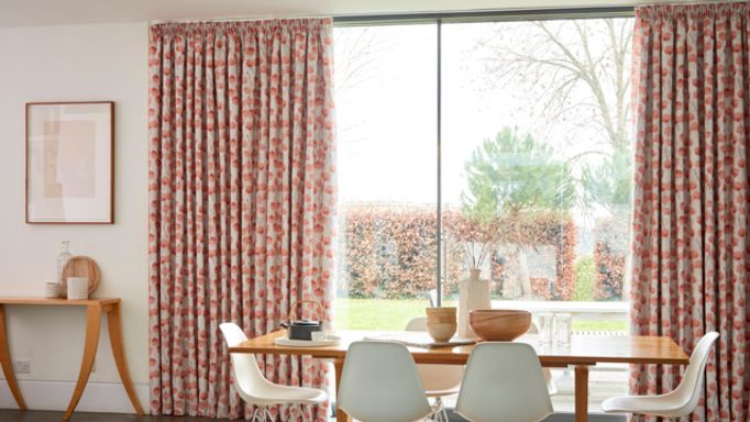 Floral Patterned Made to Measure Pencil Pleat Curtains in a Dining Room Window - Honesty Persimmon
