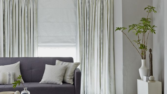 Made to Measure Patterned Pencil Pleat Curtains in a lounge bay window - House Beautiful Pinch Pleat Curtains