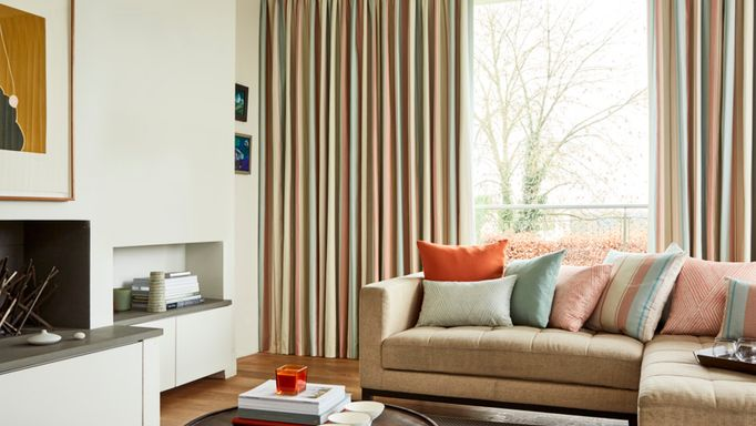 Made to Measure Beige Pinch Pleat Curtains in a lounge - Mishima Dawn Pinch Pleat Curtain