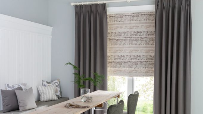 Grey Made to Measure Pinch Pleat Curtains in the Dining room - Tetbury Charcoal pinch pleat curtains