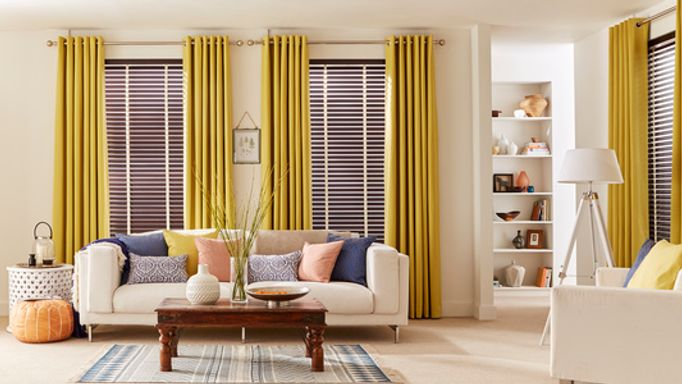 Haywood-Hickory-Wooden-blinds-with-Tetbury-Mustard-curtains