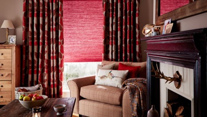 Indira-Redcurrant-curtains-with-Thermashade-Chilli-Pleated-blind