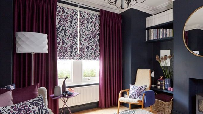 Charlotte Beevor-Sorana Violet-Roman-blind-with-Radiance Berry-curtains