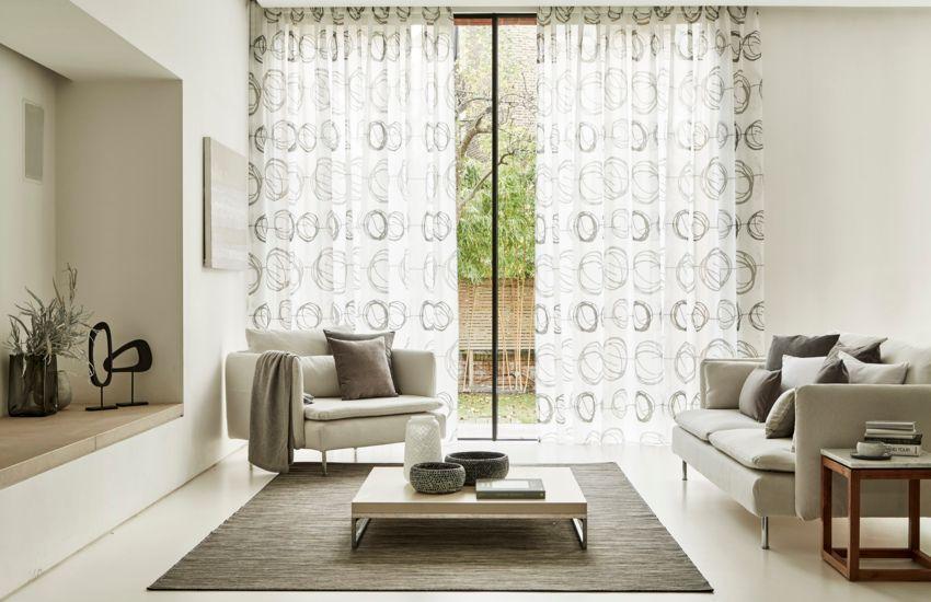 Beautiful Swirl Dusk Voile Curtains