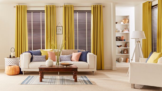 Hickory-Wooden-blinds-with-Tetbury-Mustard-curtains