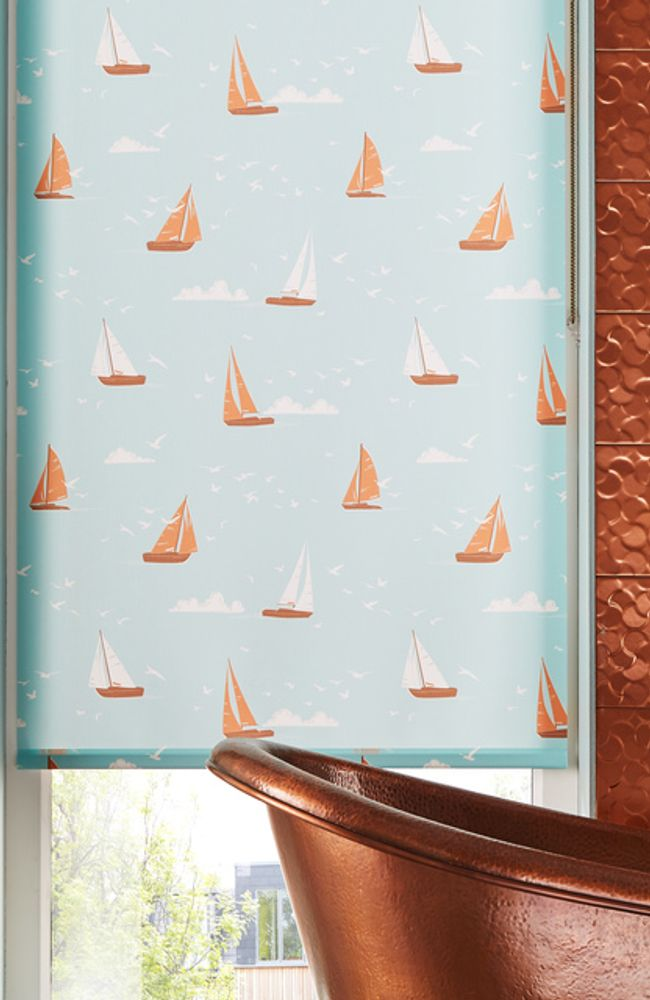 Boats-Teal-Roller-blind