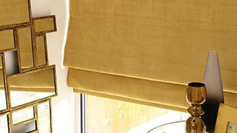 Yellow roman blind-lounge-Fascination ochre