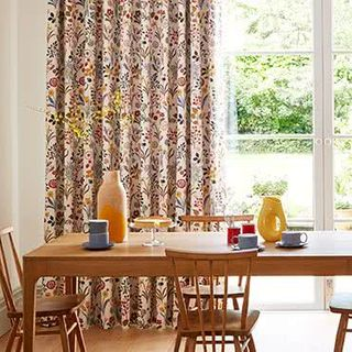 Ester Cranberry Curtains in dining room with wooden furniture