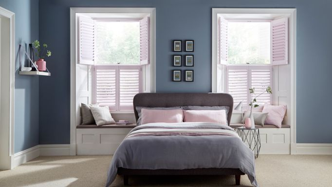 House Beautiful Chalk Pink tier-on-tier Shutters