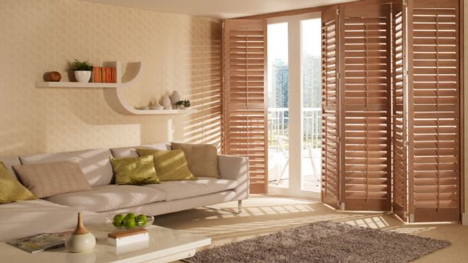 Richmond Taupe Tracked Shutters