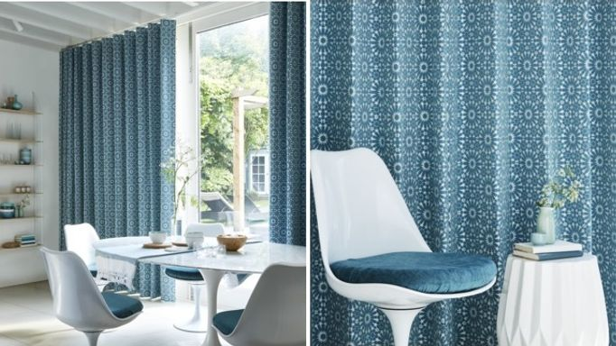 Mosaic Tile Turquoise wave curtains
