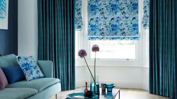 Romari-Teal-curtain-with-Caprice-Teal-Roman-blind.