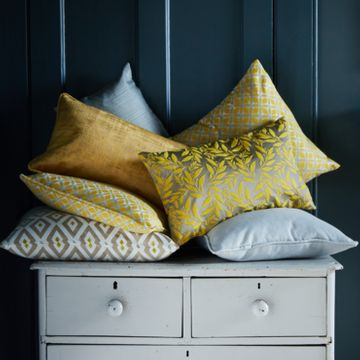 Yellow grey cushion collection