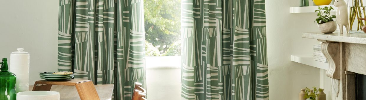 Geometro Celadon curtains