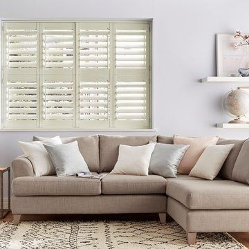 Cream Shutter in the living room - Cream Tier on Tier Made To Measure Shutters