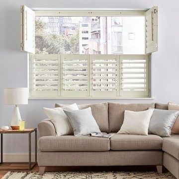 Cream Tier On Tier Window Shutters in the Living Room