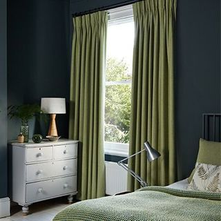 Green curtains-bedroom-Lindora wasabi.