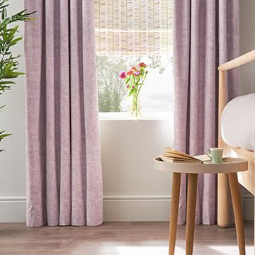 Emelie Heather curtains in the bedroom with bedside table