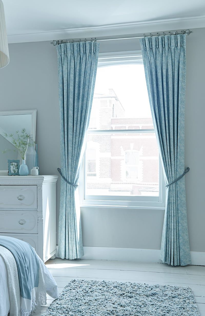 Blue Curtains Bedrrom Forest Duck Egg