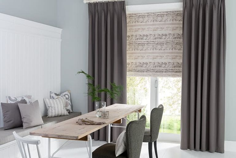 Grey Curtain Dining Room Tetbury Charcoal
