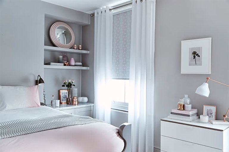 White And Grey Curtains Bedroom | Flisol Home