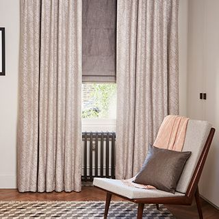 Echo Zinc curtains with Opulence Smoke roman blind