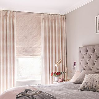 Serenity Blush curtain with Mineral Blush roman blind