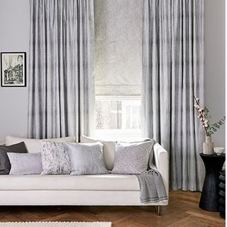 Serenity Shimmer curtains with Mineral Silver Birch roman blind