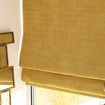 yellow roman blind close up