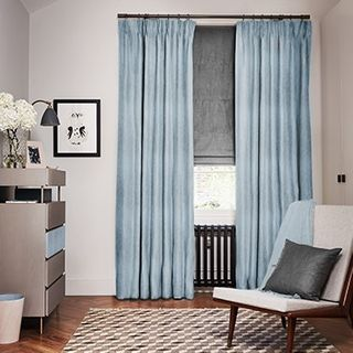 Mineral Morning Breeze curtains with Opulence Smoke Roman blind