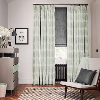 Serenity Glacier curtains with Opulence Smoke Roman blind