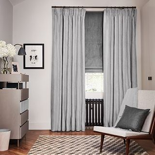 Mineral Silver Birch curtains with Opulence Smoke Roman blind
