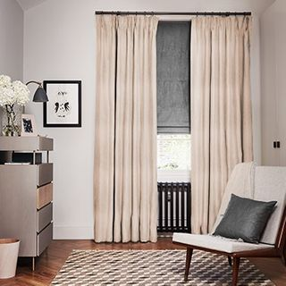 Mineral Blush curtains with Opulence Smoke Roman blind