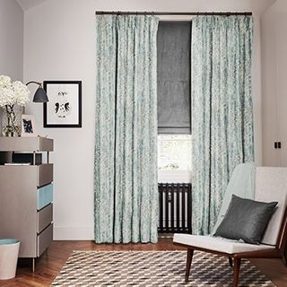 Mirage Inkwash curtains with Opulence Smoke Roman blind