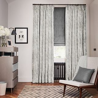 Mirage Smoke curtains with Opulence Smoke Roman blind