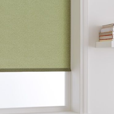 close up of light green roller blind