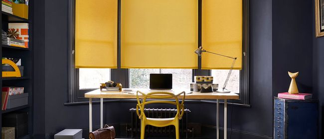 Yellow Roller Blind_Ravenna Mustard_Office