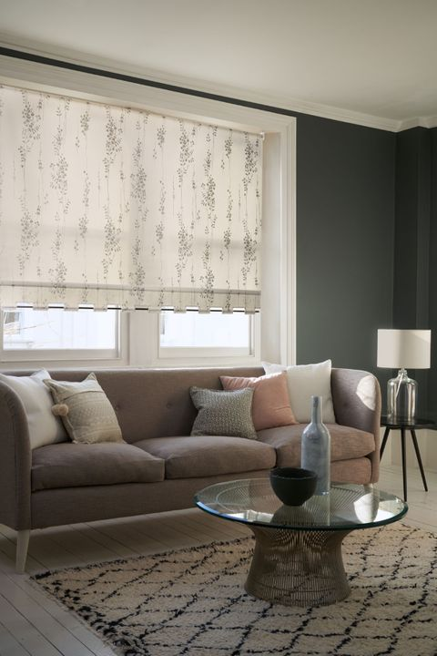 Floral Patterned Roller Blind_Somma Ivory_Living Room