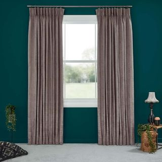 Abigail Ahern Cley Buffalo Curtains set against dark teal walls