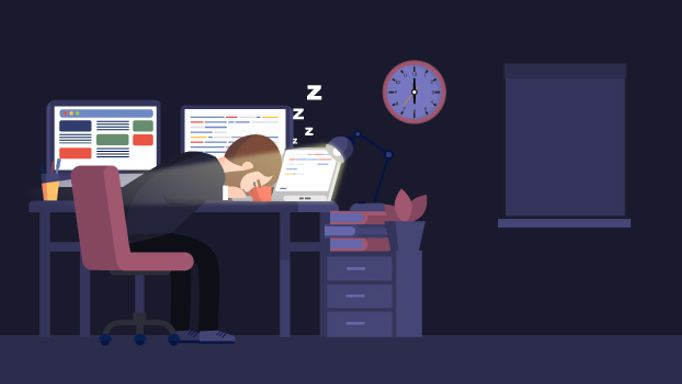 Animated man asleep at desk whilst working on computer, room is dark because the blinds are shut
