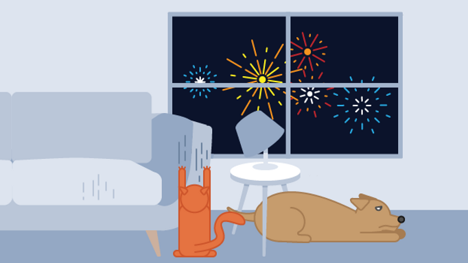 Agitated cat and dog in animated living room while fireworks are going off outside