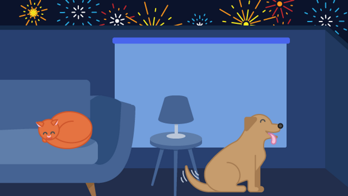 Happy dog and cat in animated living room with blinds down and fireworks outside