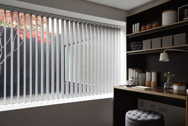 study with pattie chestnut vertical blinds on wide window