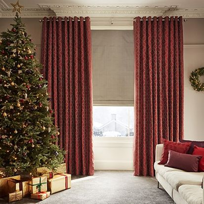 christmas living room with tetbury brick curtains and oralia dove roman blind